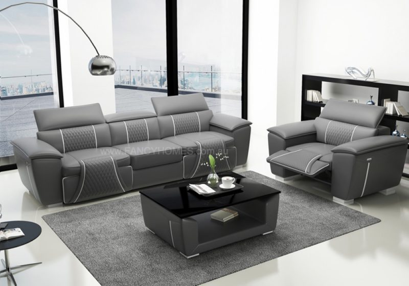Fancy Home Apollo-D Recliner Lounges Suites Leather Sofa in Grey and White Leather