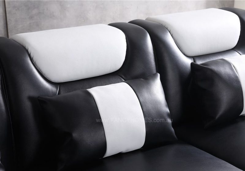 Easy-adjust headrests on Fancy Homes Razzo Modular Leather Sofa