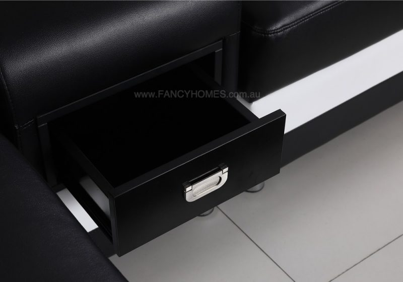 Fancy Homes Razzo-A Modular Leather Sofa with built-in Draw Unit for storage
