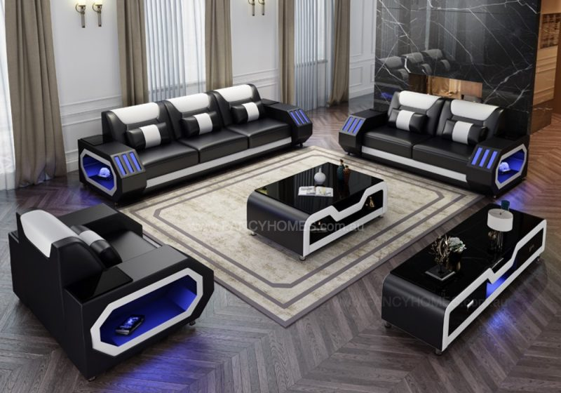 Fancy Homes Razzo-D Lounges Suites Leather Sofa in Black and White Leather