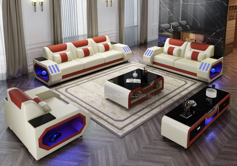 Fancy Homes Razzo-D Lounges Suites Leather Sofa in Creamy White and Red Leather