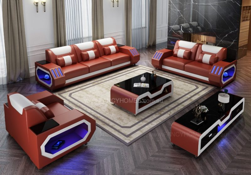 Fancy Homes Razzo-D Lounges Suites Leather Sofa in Red and White