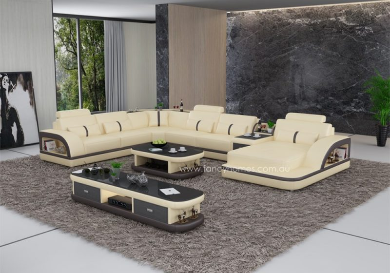 Fancy Homes Gianni modular leather sofa in beige and brown leather