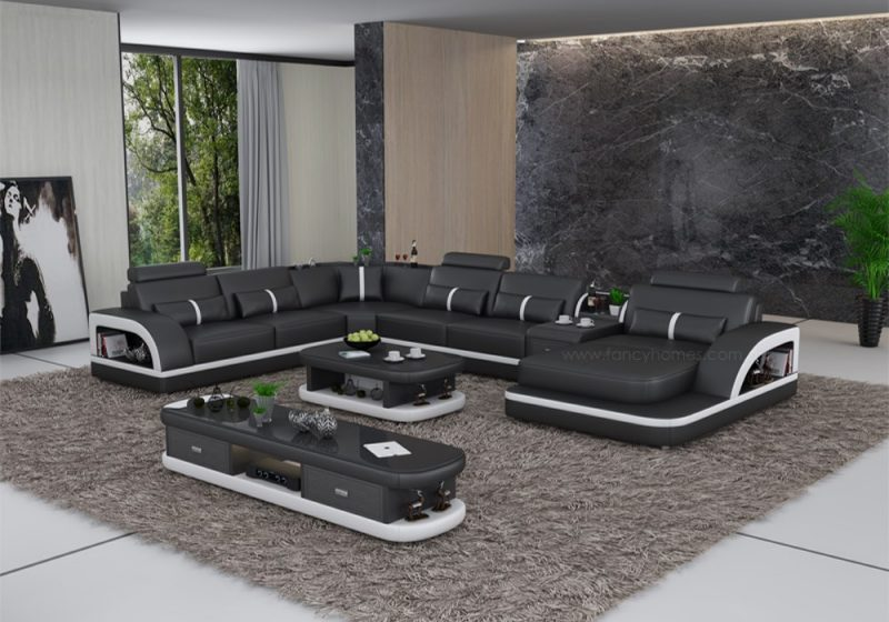Fancy Homes Gianni modular leather sofa in black and white featured with storage armrests and middle table in black and white leather