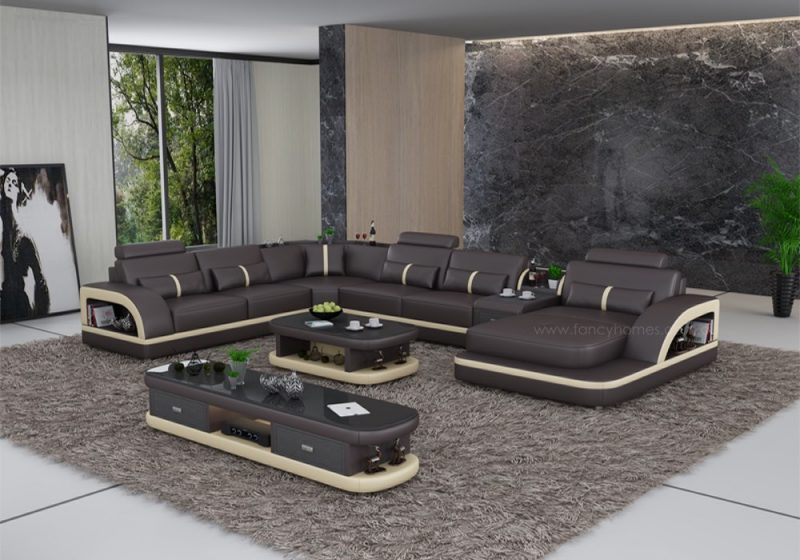 Fancy Homes Gianni modular leather sofa in brown and beige leather