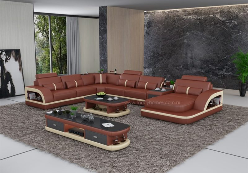 Fancy Homes Gianni modular leather sofa in dark red and beige leather