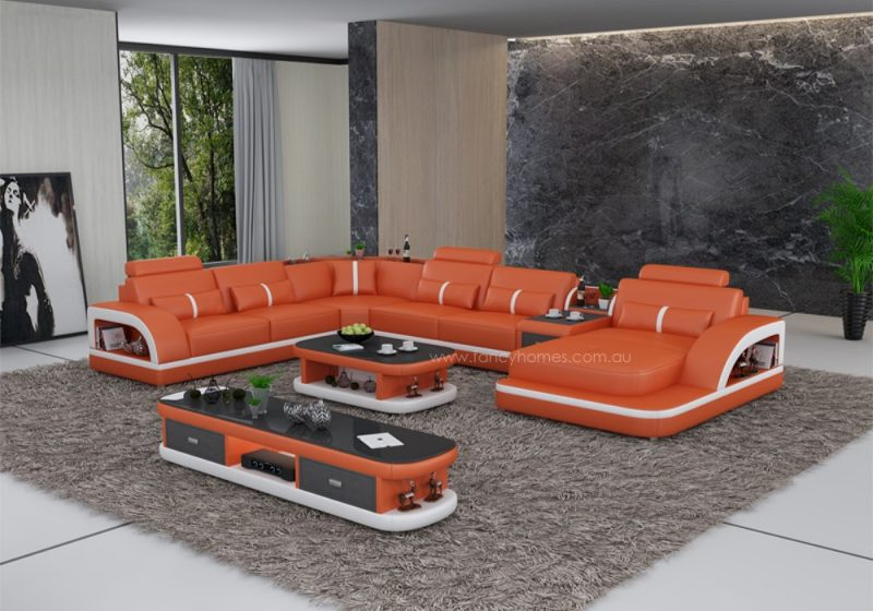 Fancy Homes Gianni modular leather sofa in orange and white leather