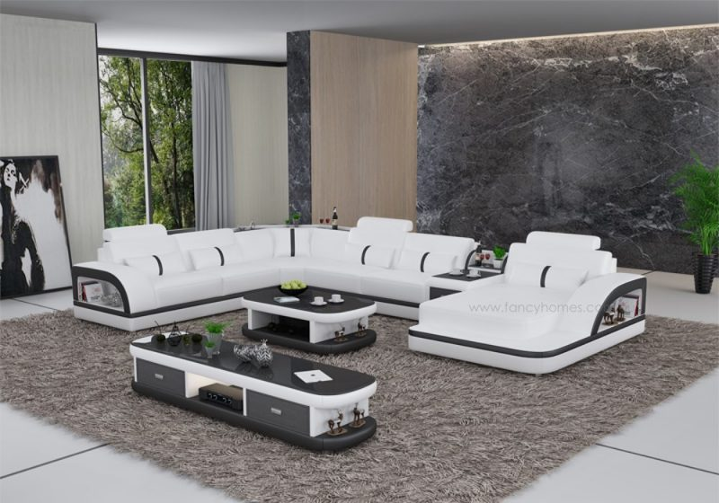 Fancy Homes Gianni modular leather sofa in white and black leather