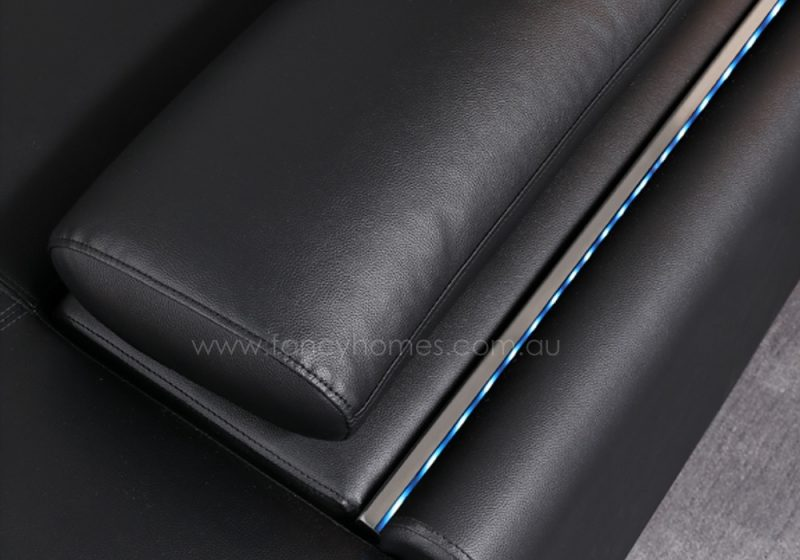 Armrests and LED lightings of Stereo modular leather sofa