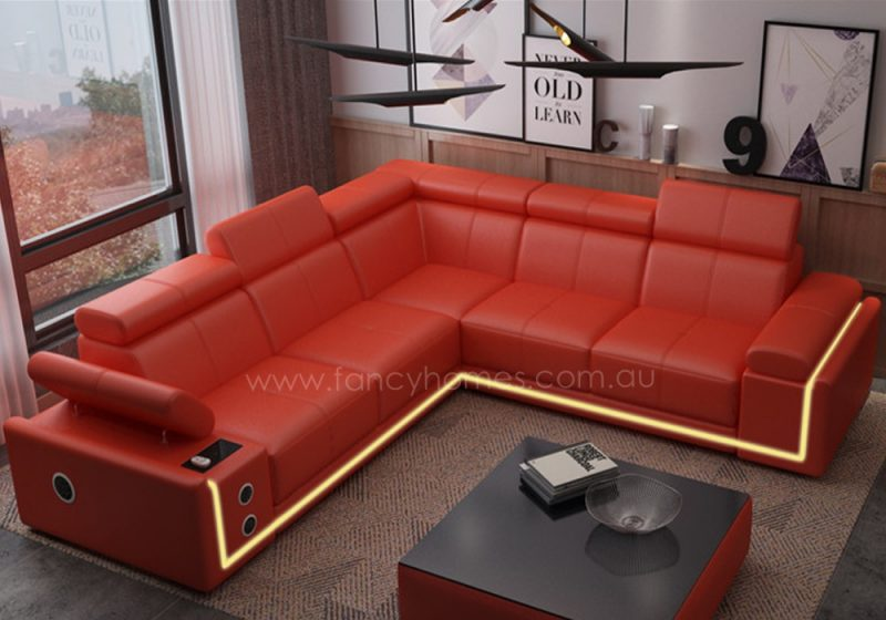 Fancy Homes Stereo-B corner leather sofa in red leather