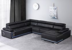 Fancy Homes Stereo modular leather sofa in black leather featured with multi-media systems, LED lightings and adjustable headrests and armrest