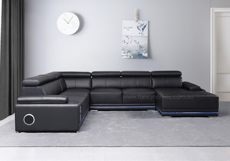 Fancy Homes Stereo modular leather sofa in black leather