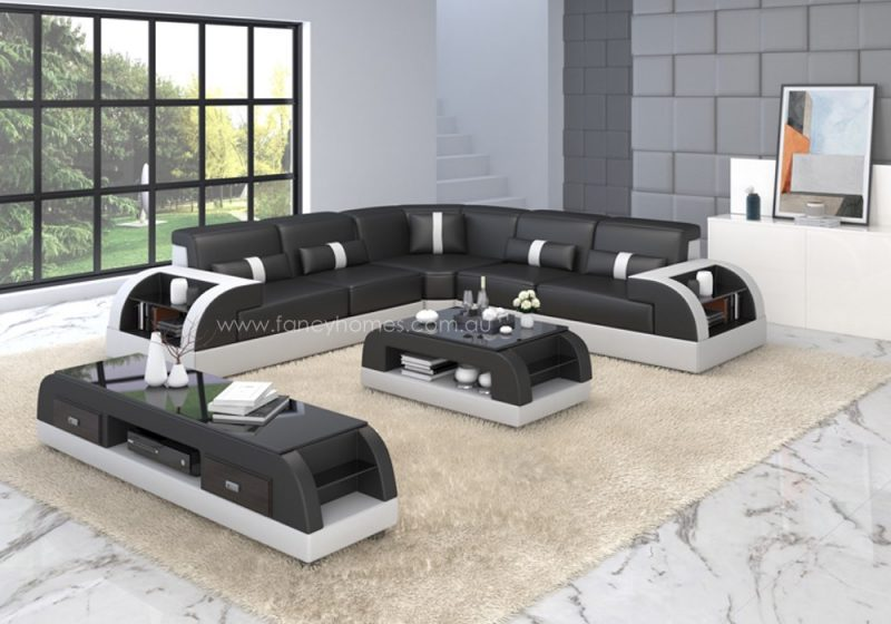 Fancy Homes Arco-B corner leather sofa in black and white leather