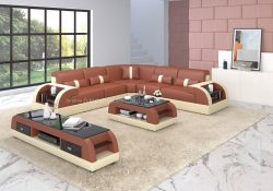 Fancy Homes Arco-B corner leather sofa in dark red and beige leather
