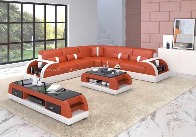 Fancy Homes Arco-B corner leather sofa in orange and white leather