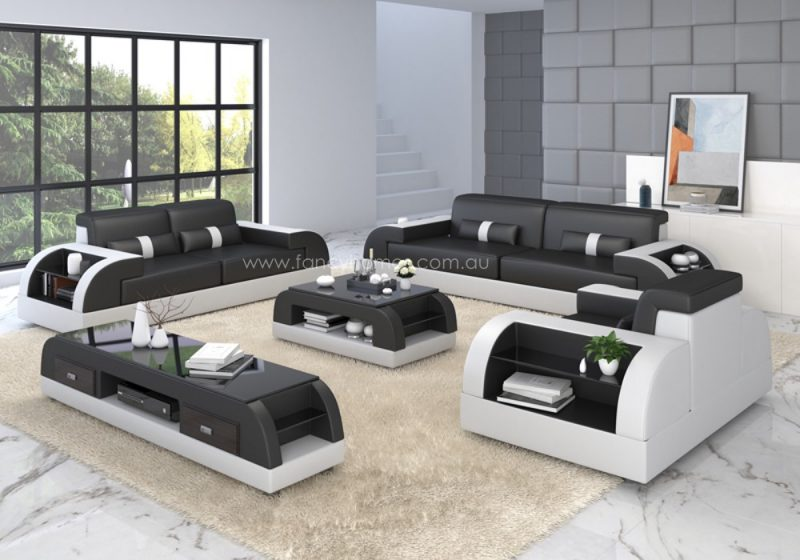 Fancy Homes Arco-D lounges suites leather sofa in black and white leather