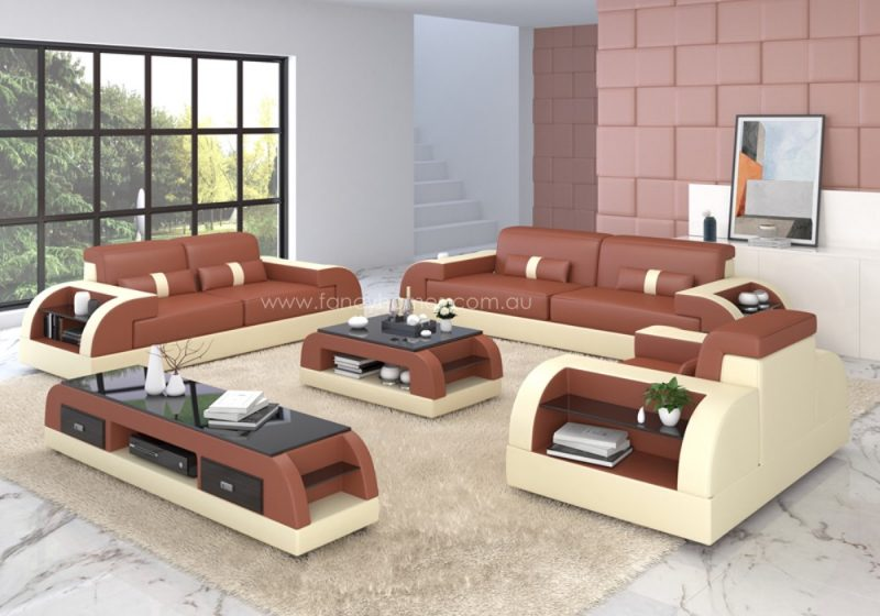 Fancy Homes Arco-D lounges suites leather sofa in dark red and beige leather