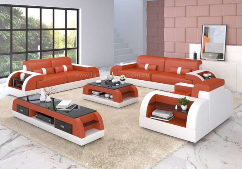 Fancy Homes Arco-D lounges suites leather sofa in orange and white leather