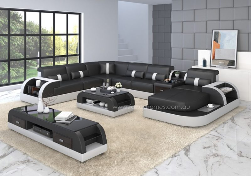 Fancy Homes Arco modular leather sofa in black and white leather
