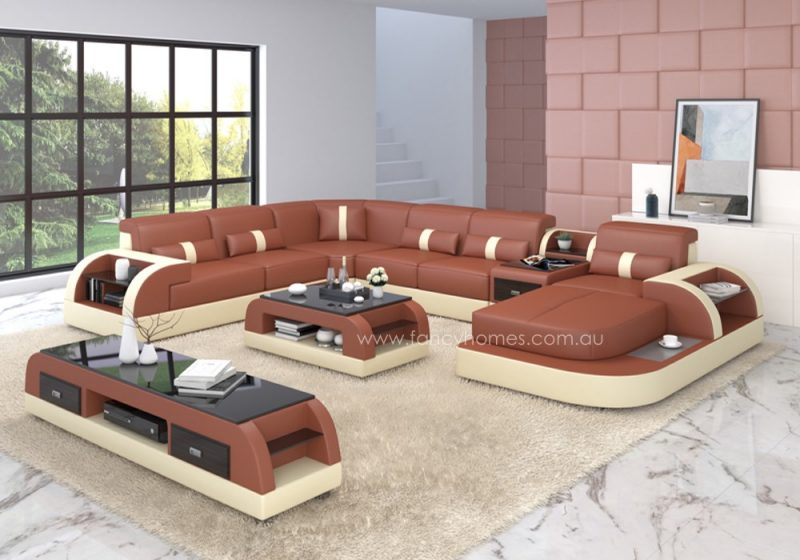 Fancy Homes Arco modular leather sofa in dark red and beige leather
