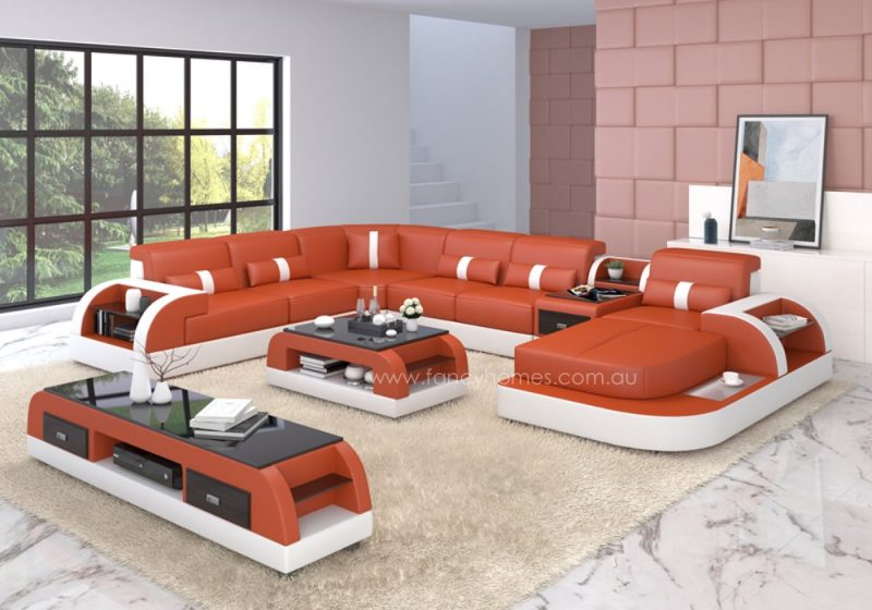 Fancy Homes Arco modular leather sofa in orange and white leather
