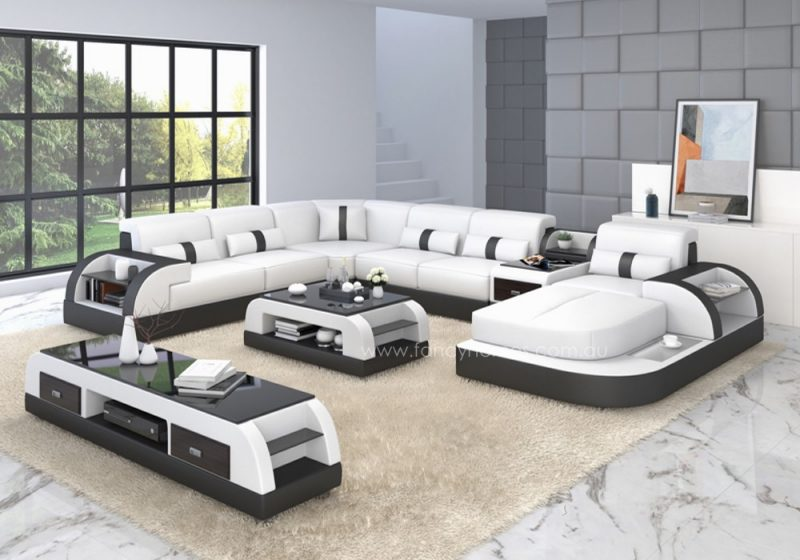 Fancy Homes Arco modular leather sofa in white and black leather