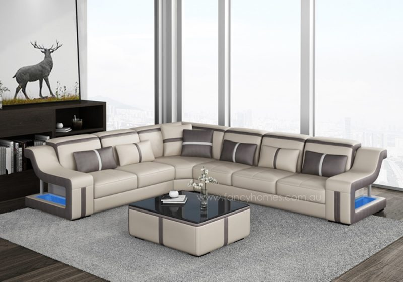 Fancy Homes Gabriel-B corner leather sofa in beige and brown leather