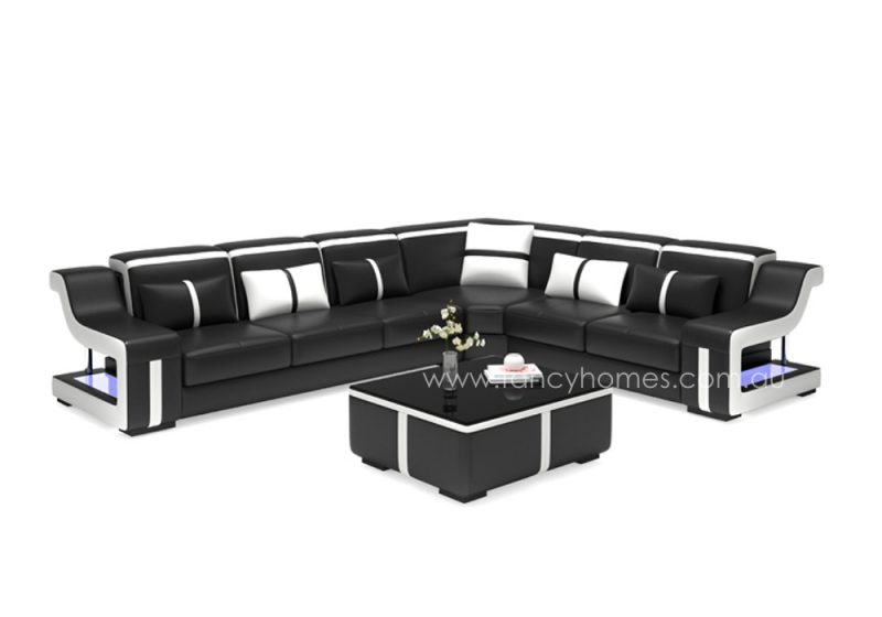 Fancy Homes Gabriel-B corner leather sofa in black and white leather