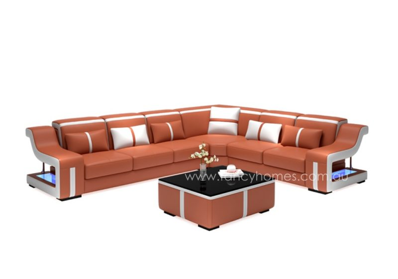 Fancy Homes Gabriel-B corner leather sofa in orange and white leather
