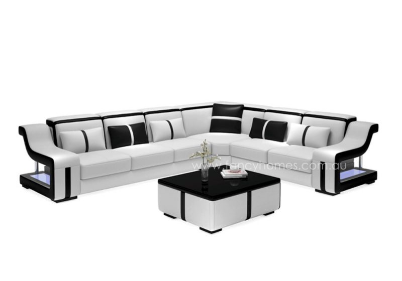 Fancy Homes Gabriel-B corner leather sofa in white and black