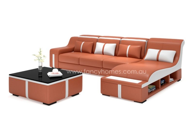 Fancy Homes Gabriel-C chaise leather sofa in orange and white leather