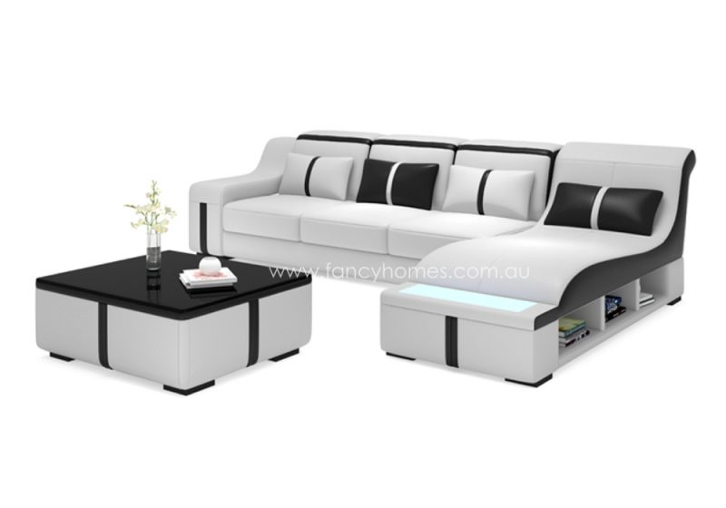 Fancy Homes Gabriel-C chaise leather sofa in white and black leather