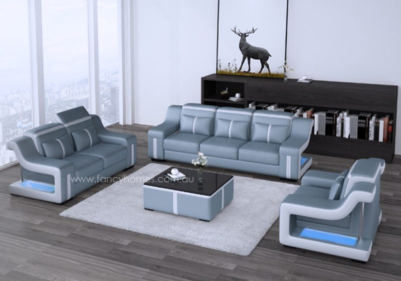 Fancy Homes Gabriel-D lounges suites leather sofa in blue and white leather