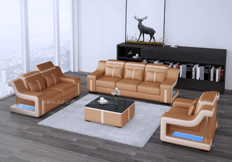 Fancy Homes Gabriel-D lounges suites leather sofa in gold and beige leather