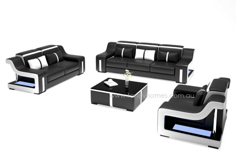 Fancy Homes Gabriel-D lounges suites leather sofa in black and white leather