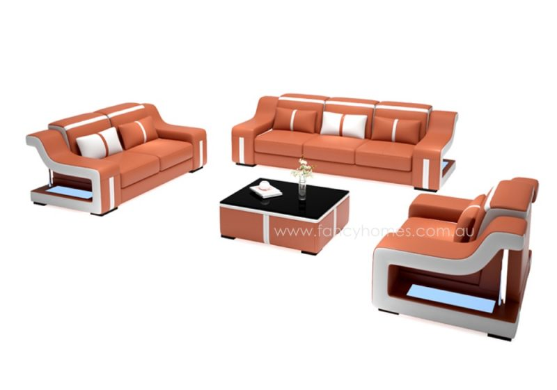 Fancy Homes Gabriel-D lounges suites leather sofa in orange and white leather
