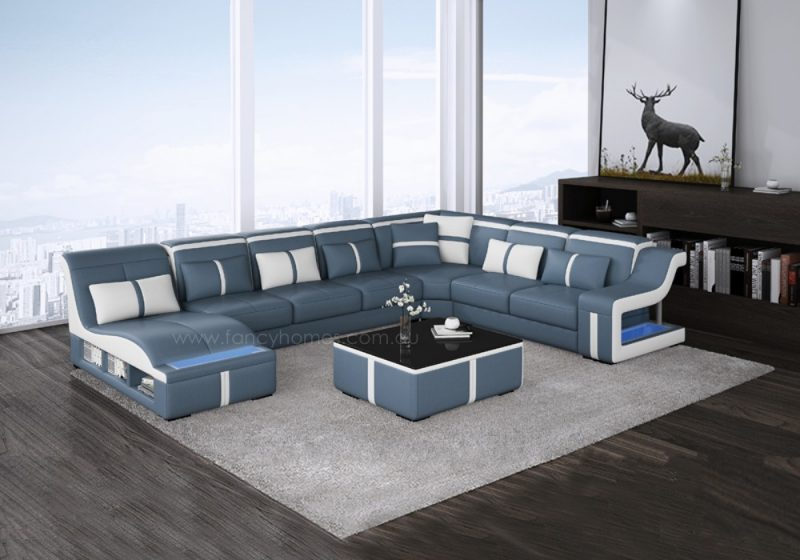 Fancy Homes Gabriel modular leather sofa in blue and white leather
