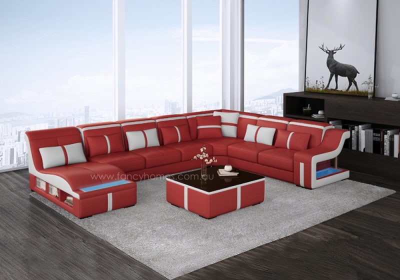 Fancy Homes Gabriel modular leather sofa in red and white leather