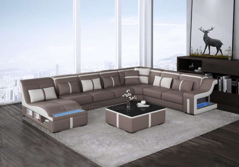 Fancy Homes Gabriel modular leather sofa in tan and white leather