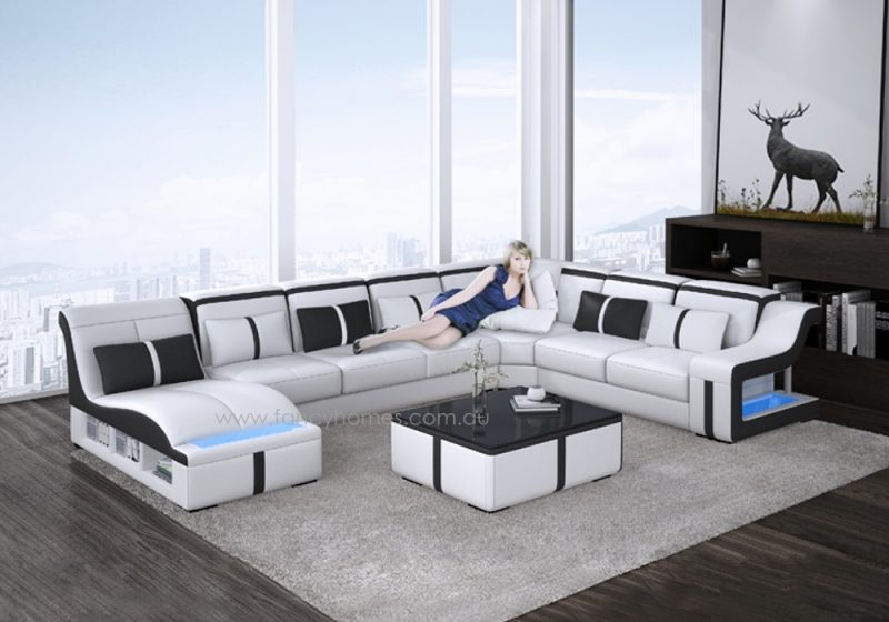 Fancy Homes Gabriel modular leather sofa in white and black leather