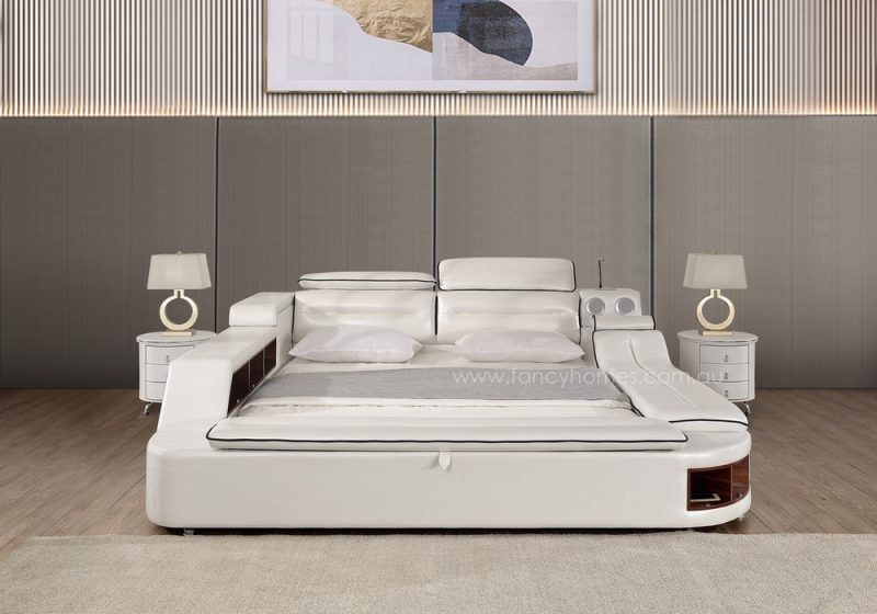 The front view of Fancy Homes Karina multifunctional Italian leather bed frame