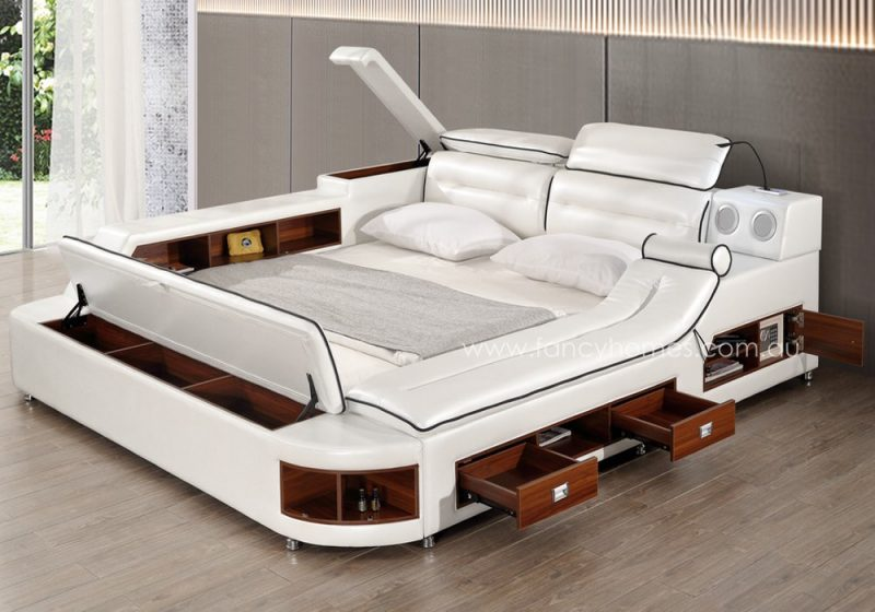 Fancy Homes Karina multifunctional Italian leather bed frame features storages, adjustable headrests, digital safe, bluetooth speakers, USB charger, lamp and music system. It also comes with a massage chaise for you to relax.