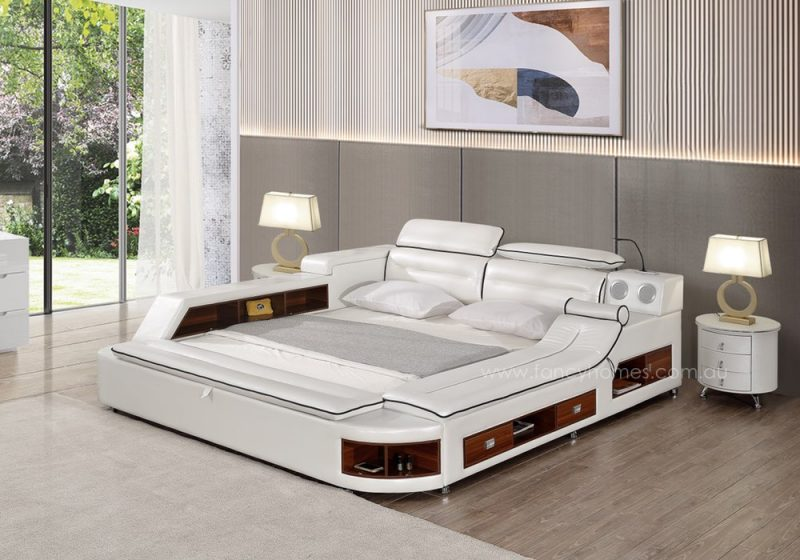 Fancy Homes Karina multifunctional Italian leather bed frame