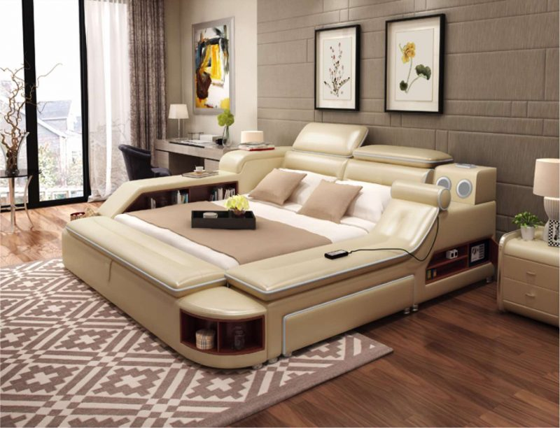 Fancy Homes Karina multifunctional Italian leather bed frame also comes in the configurations with a removable ottoman