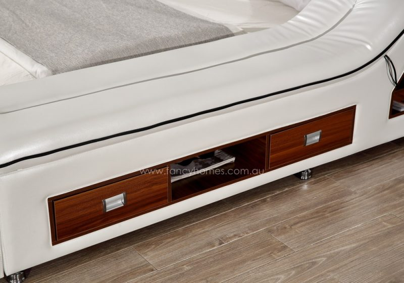 The drawers and storages on Fancy Homes Karina multifunctional Italian leather bed frame