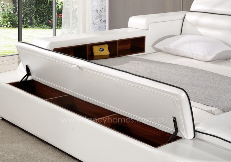 The storage ottoman on the tail board of the Karina multifunctional Italian leather bed frame