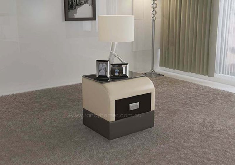 Fancy Homes NS9901 bedside table in beige and brown