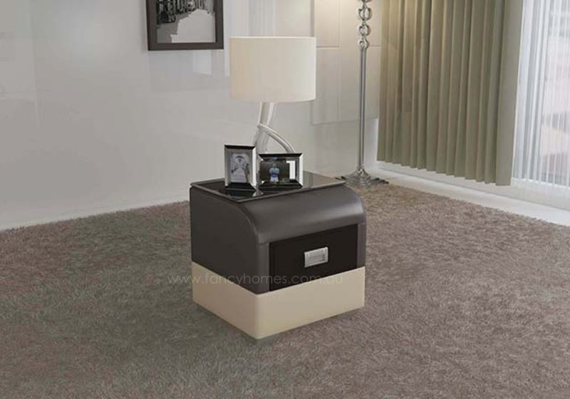 Fancy Homes NS9901 bedside table in brown and beige