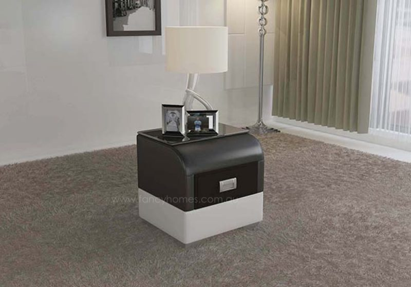 Fancy Homes NS9901 Bedside Table in black and white