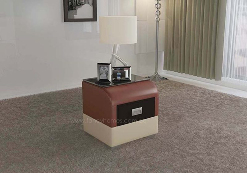 Fancy Homes NS9901 bedside table in dark red and beige